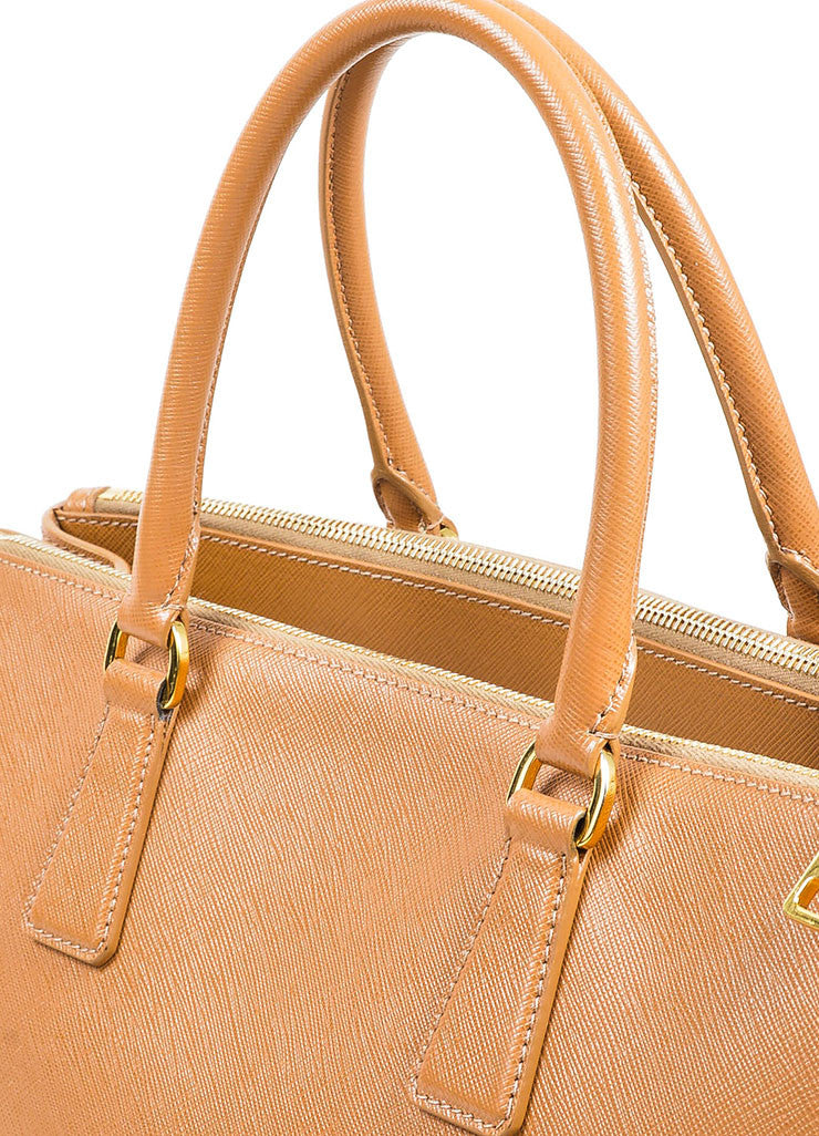"Prada Tan Leather ""Saffiano Lux Gardener's"" Dual Compartment Tote Bag Detail 2"
