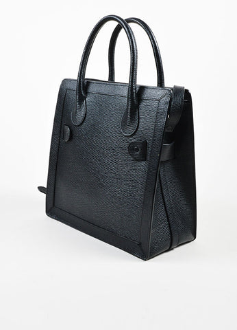 "Black Proenza Schouler Textured Leather Structured ""PS11"" Tote Bag Sideview"