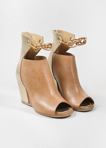 "Rick Owens Tan and Gold Toned Leather Peep Toe Cut Out Wedge ""Peron"" Booties Frontview"