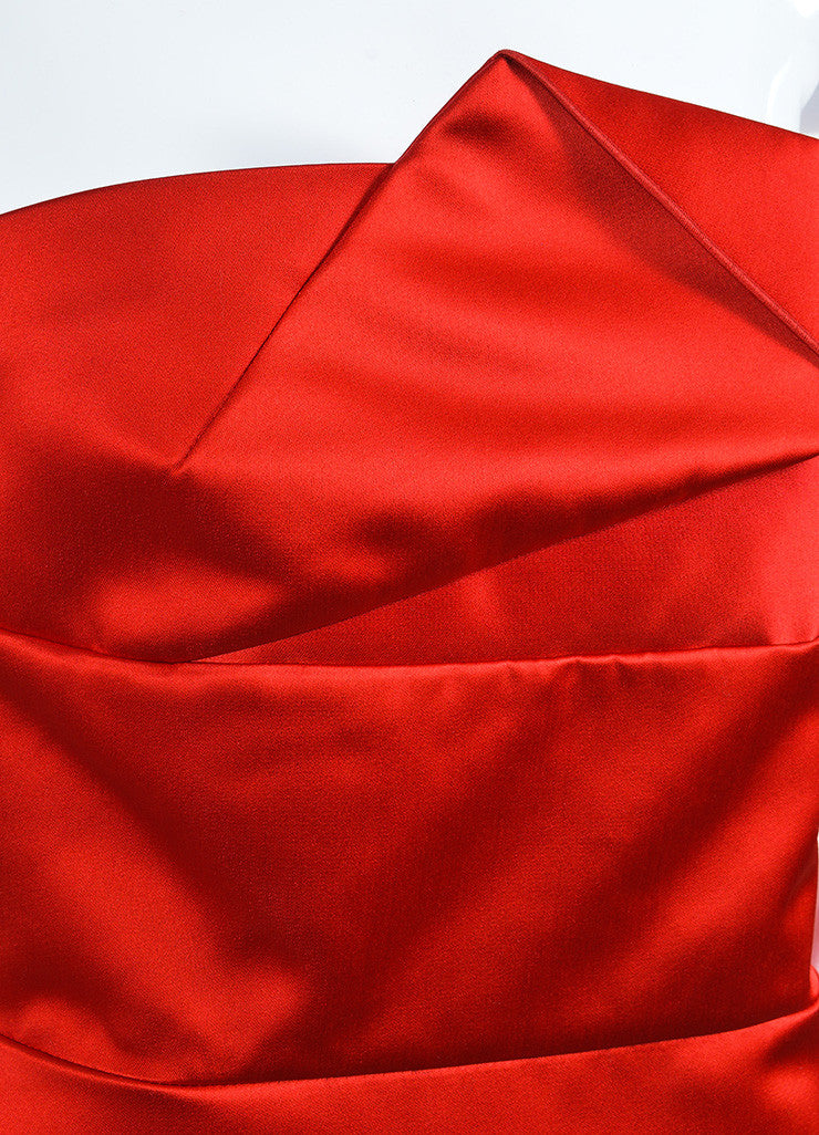 "Red Satin Roland Mouret ""Esther"" Cocktail Dress Detail"