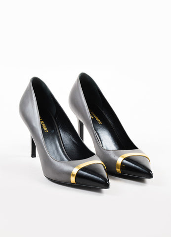 "å´?ÌÜSaint Laurent ""Earth"" Grey, Black, and Gold Toned Cap Toe Pointed Pumps Frontview"