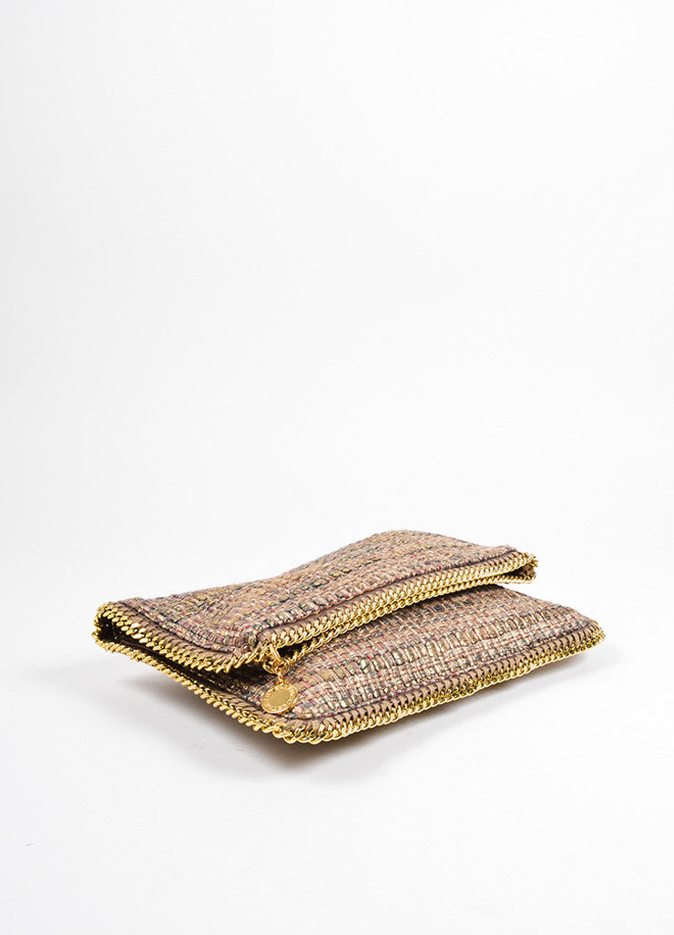 "Stella McCartney Metallic Gold and Brown Tweed ""Boucle Falabella"" Foldover Clutch Bag Bottom View"