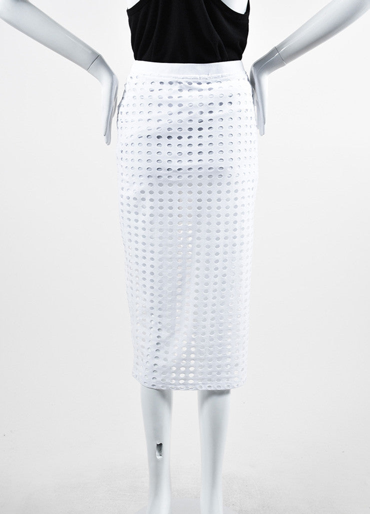 White T By Alexander Wang Cut Out Stretch Midi Pencil Skirt Backview