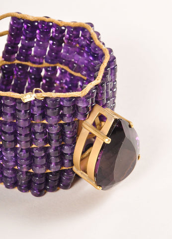 Tereza Xavier Amethyst Purple an Tan Bead and Teardrop Stone Cord Tie Bracelet Detail