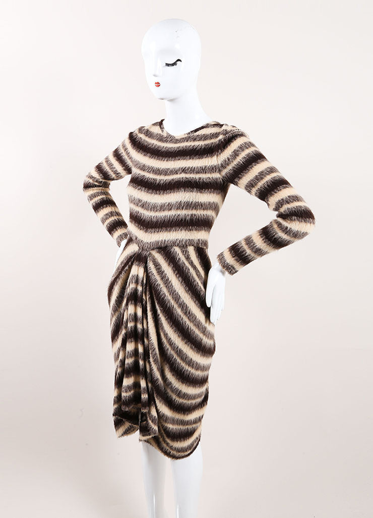 Thakoon New With Tags Tan, Brown, and Grey Woolen Knit Stripe Draped Sweater Dress Sideview