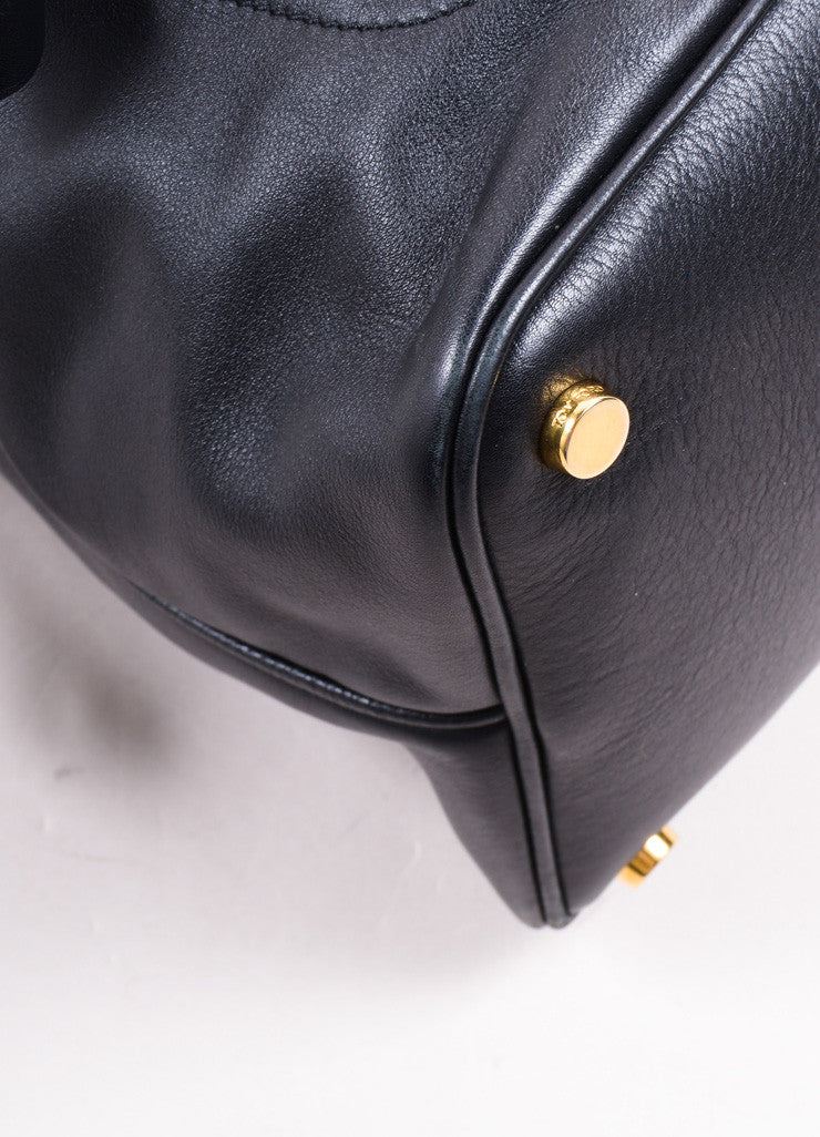 Tom Ford Black Leather and Gold Toned Hardware Bowler Bag Detail