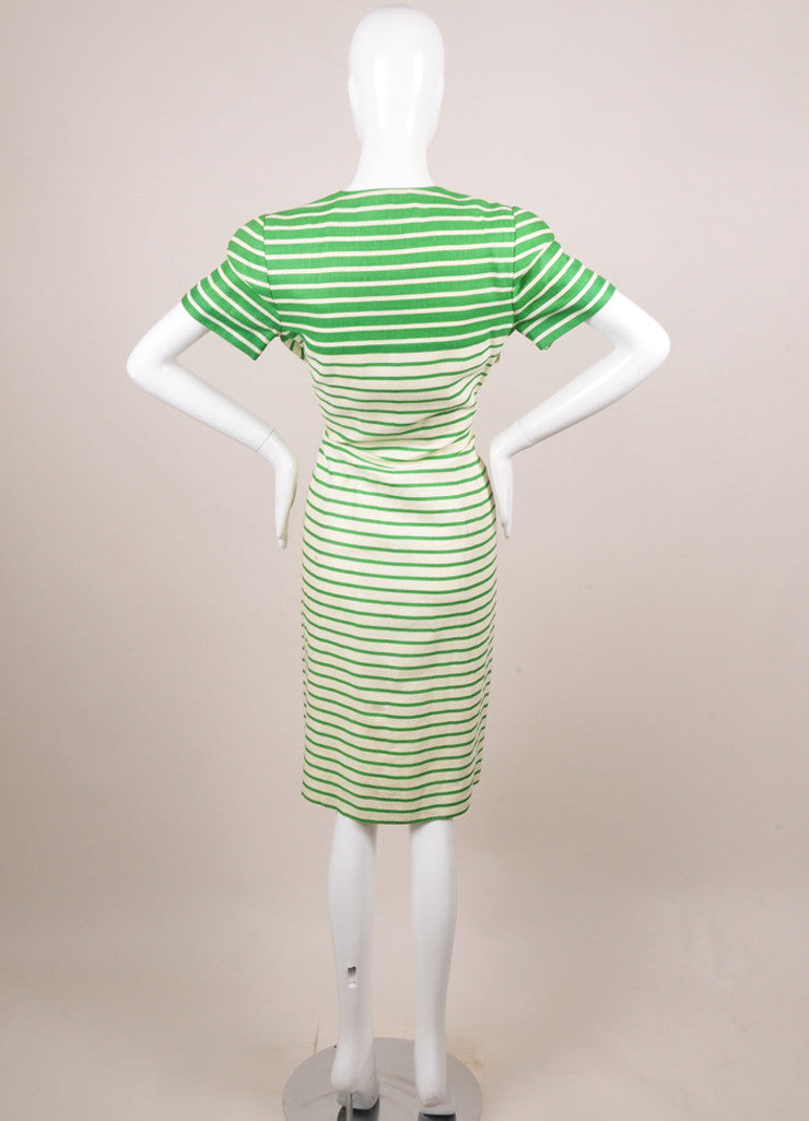 Nipon White and Green Striped Linen Button Up Short Sleeve Dress Backview