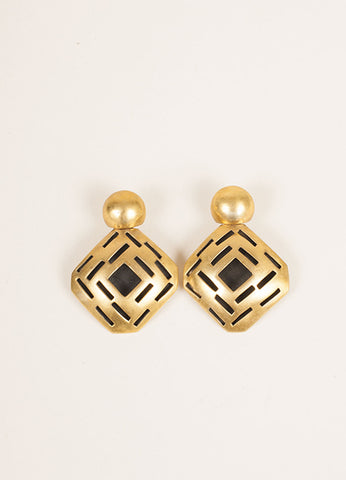 Vaubel Gold Toned and Black Geometric Cut Out Earrings Frontview
