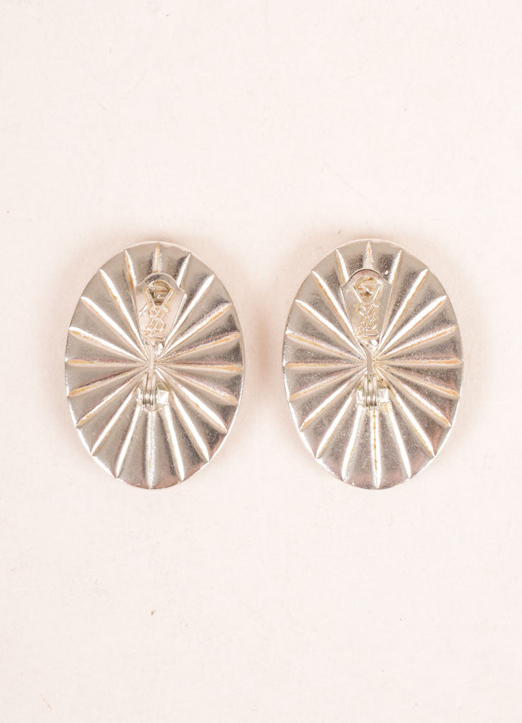 Yves Saint Laurent Silver Toned and Cream Flat Stone Face Oval Earrings Backview