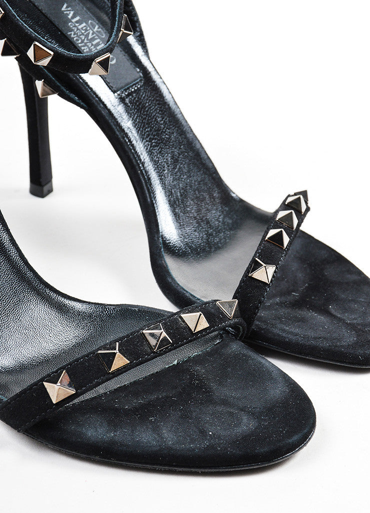"Black and Gunmetal Valentino Suede Ankle Strap ""Rockstud Noir"" Sandals Detail"