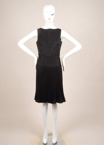 Valentino Techno Couture Black Wool Sleeveless Floral Lace Pleated Dress Frontview