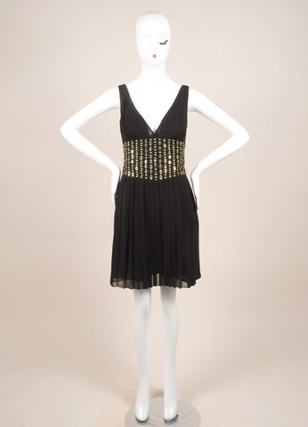 Versace New With Tags Black and Gold Chiffon Studded Pleated Dress Frontview