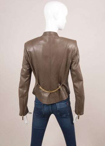 Versace Taupe Leather Zip Motorcycle Jacket Backview