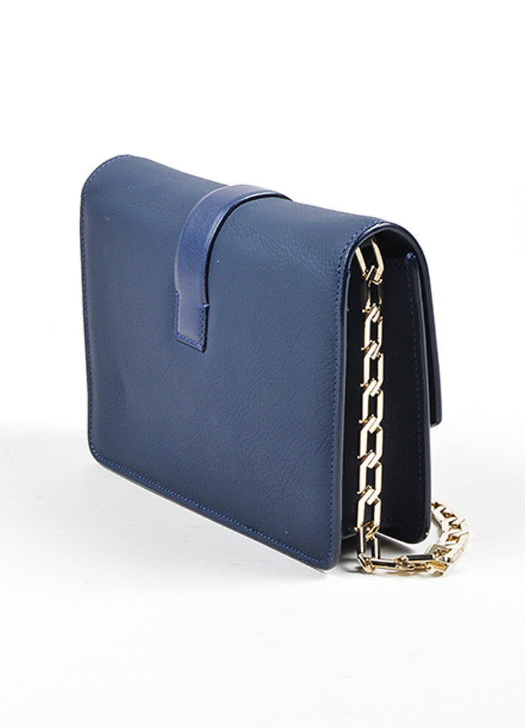 Navy Blue Victoria Beckham Leather Mini Chain Satchel Bag Sideview
