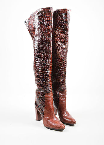 Brown Viktor & Rolf  Lizard and Embossed Leather Over The Knee Boots  Frontview