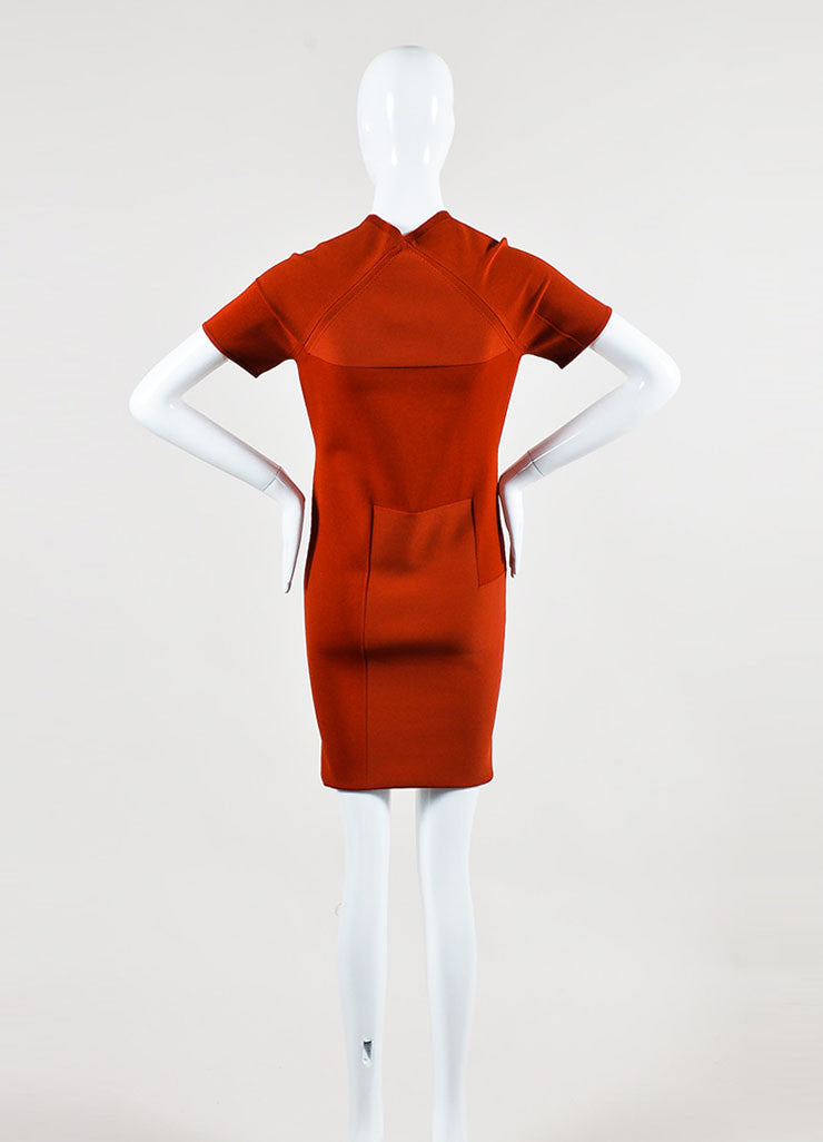 í_í_Œ¢í_?çí_í_Alexander Wang Rust Red Stretch Knit Exposed Seam Short Sleeve Bodycon Dress Backview