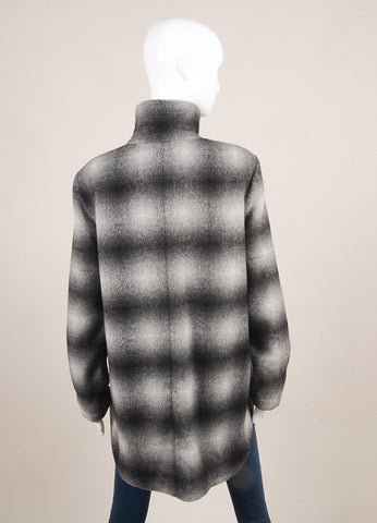 10 Crosby Derek Lam New With Tags Grey and Black Woolen Leather Trim Plaid Jacket Backview