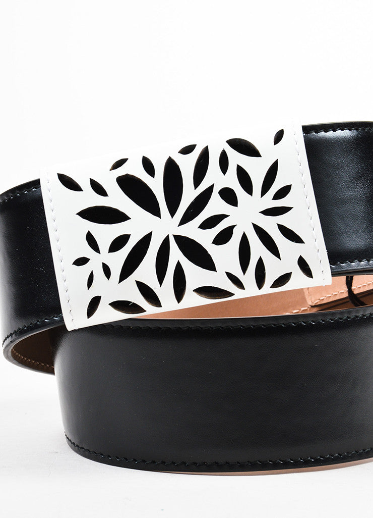 Black and White Alaia Leather Floral Laser Cut Detail Waist Belt Detail