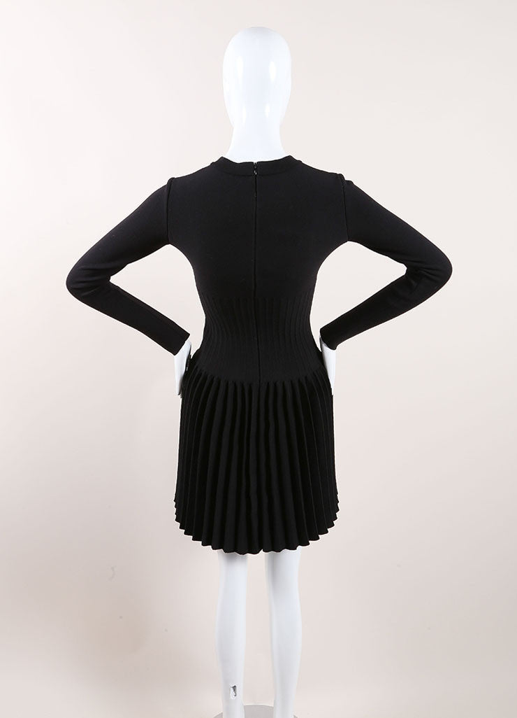 Alaia New With Tags Black Wool Knit Long Sleeve Pleated A-Line Sweater Dress Backview