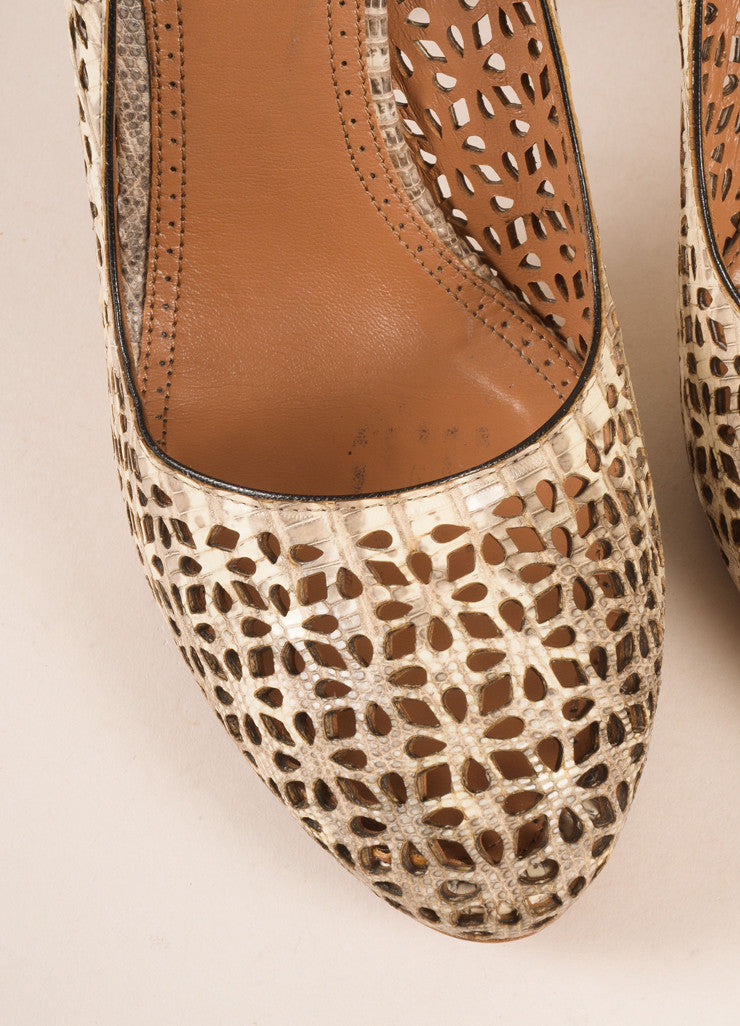Alaia Taupe Lizard Leather Round Toe Cut Out Pumps Detail