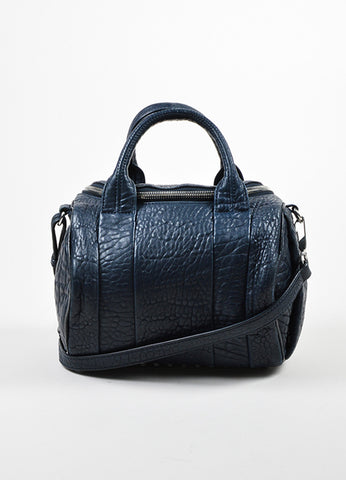 "Navy Blue Alexander Wang Leather ""Rockie"" Duffel Bag Front"
