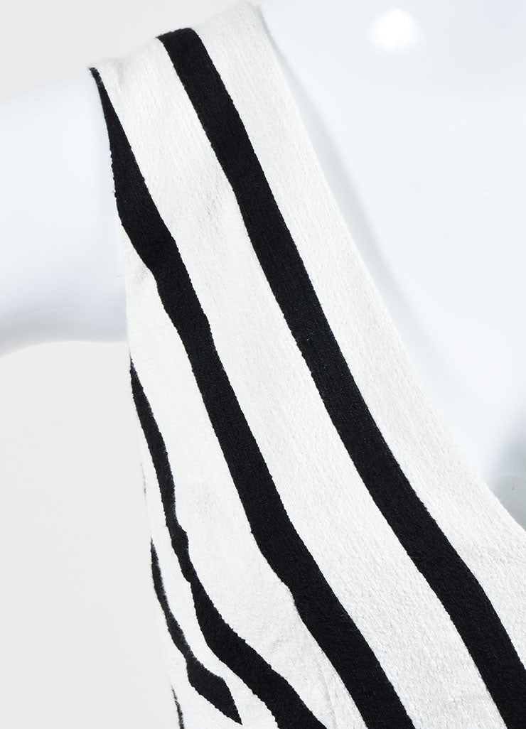 Cream and Black Altuzarra Textured Contrast Stripe Sleeveless Dress Detail