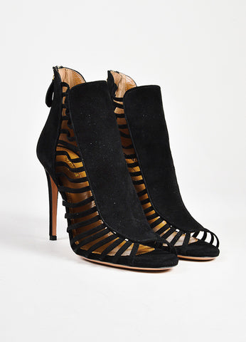 Aquazzura Black Suede Caged Zip Up Peep Toe Booties front