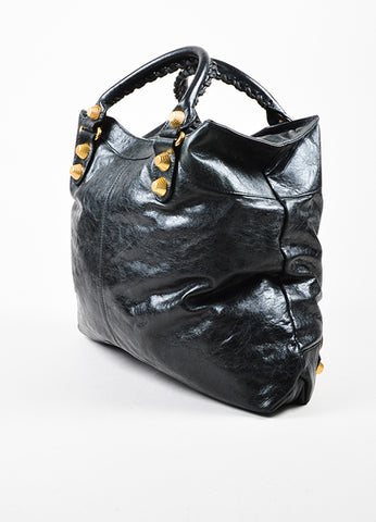 "Balenciaga Black and Gold Toned Leather ""Giant Brief"" Tote Bag Sideview"