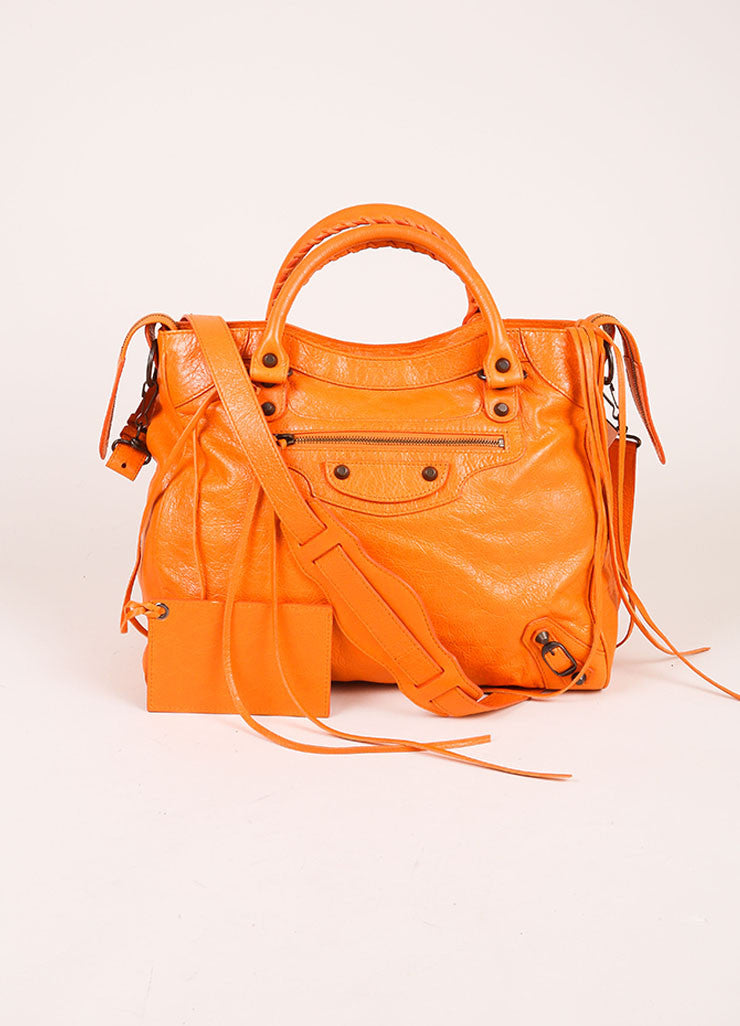 "Balenciaga New With Tags Orange Stud Accent Crossbody ""Velo"" Satchel Bag Frontview"
