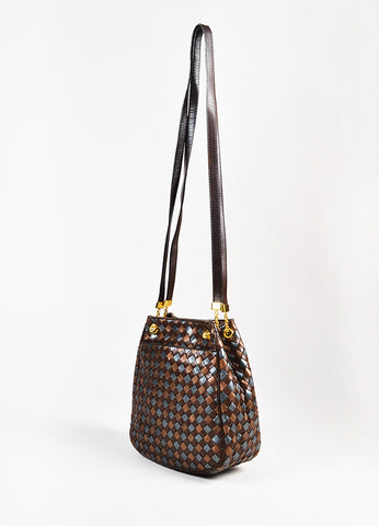 Bottega Veneta Brown Metallic Bronze Gunmetal Intrecciato Leather GHW Bucket Bag front