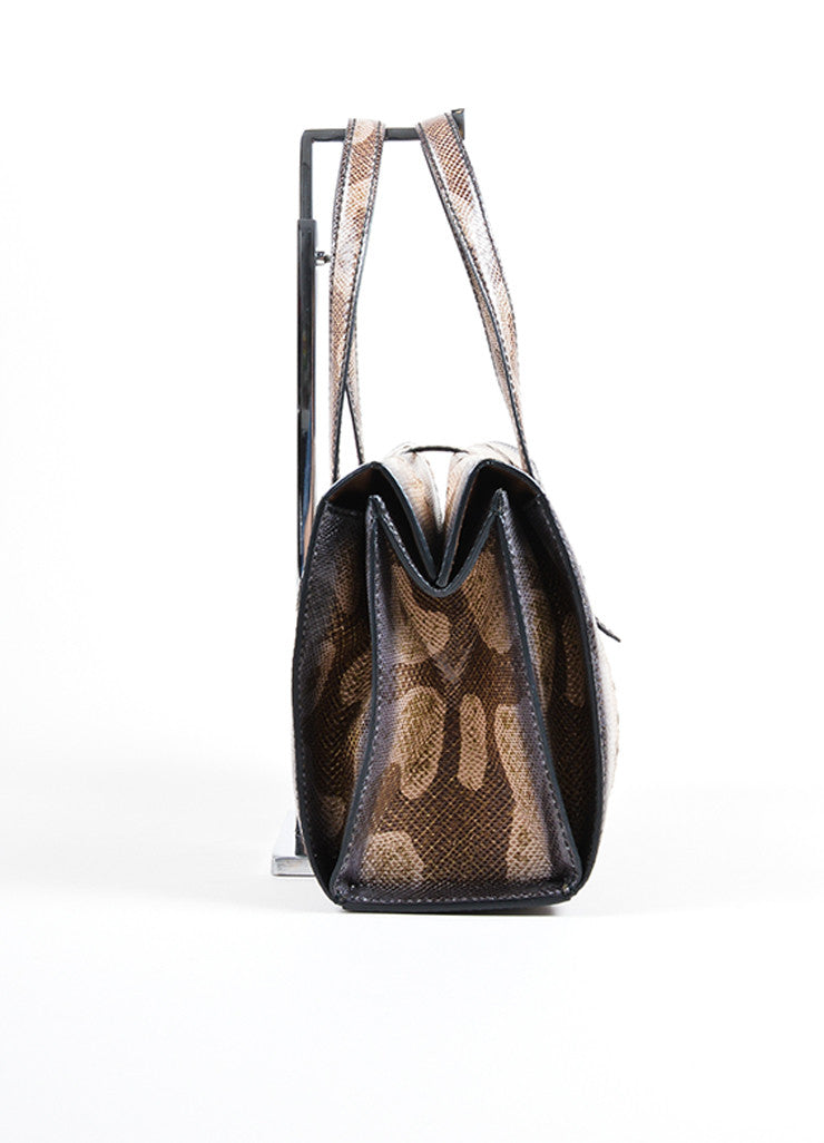 Bottega Veneta  Brown Water Snake Leather Structured Handbag Sideview