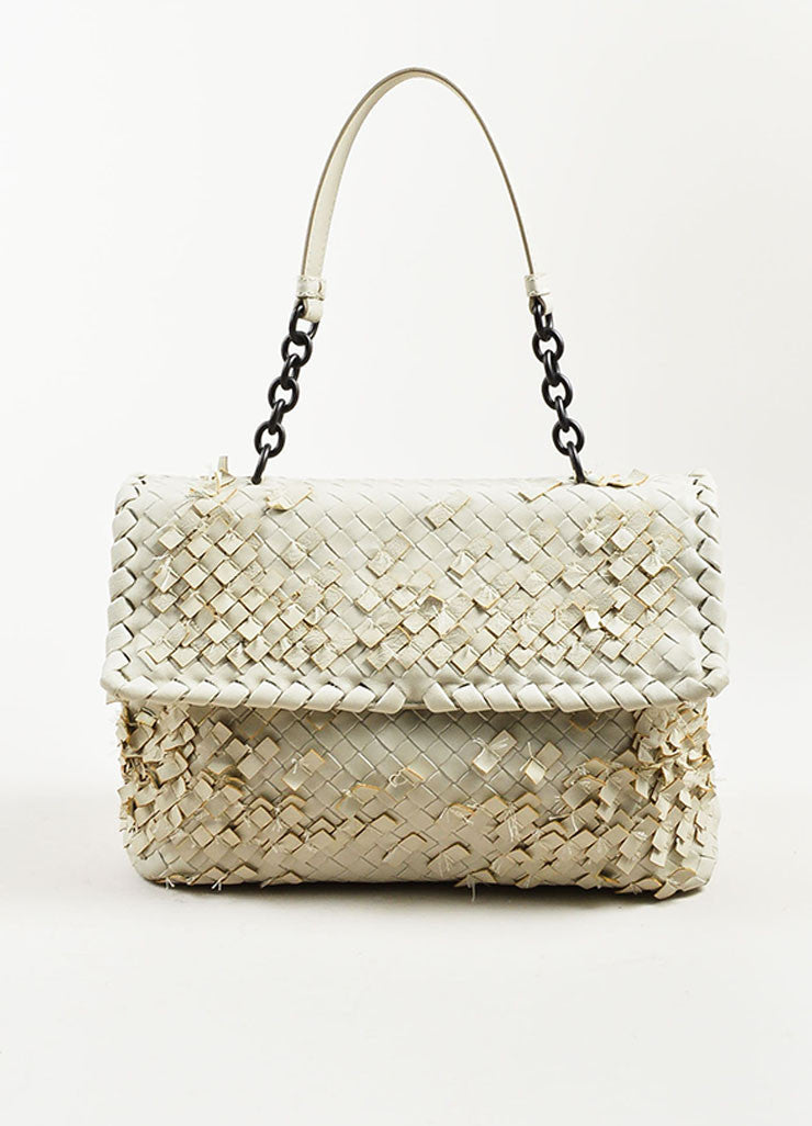 "Bottega Veneta White Woven Leather Fringed ""Olimpia Tobu"" Shoulder Bag Frontview"
