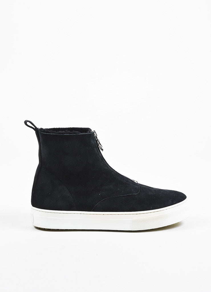 Celine Black Suede Shearling Lined Zipper High Top Sneaker Boots Sideview