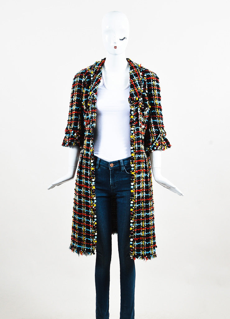 Chanel Black and Multicolor Wool Tweed Embellished Bead Trim Coat Frontview