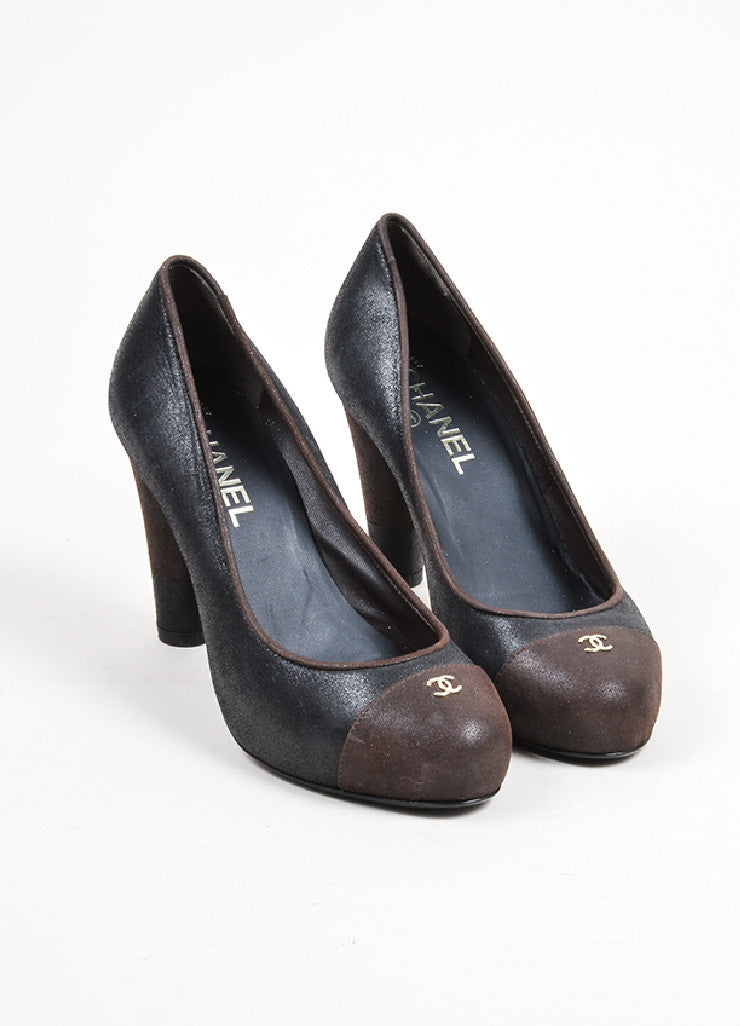 Black and Brown Chanel Crackled Leather Cap Toe Pumps Front