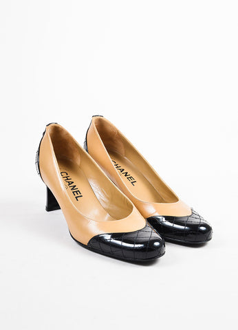 Chanel Black and Nude Patent Leather Quilted Cap Toe Pumps Frontview