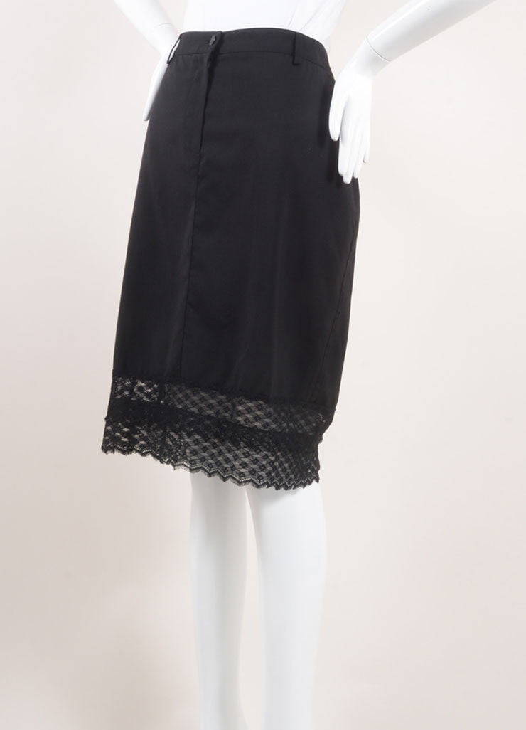 Chanel Black Wool Lace Trim Skirt Sideview