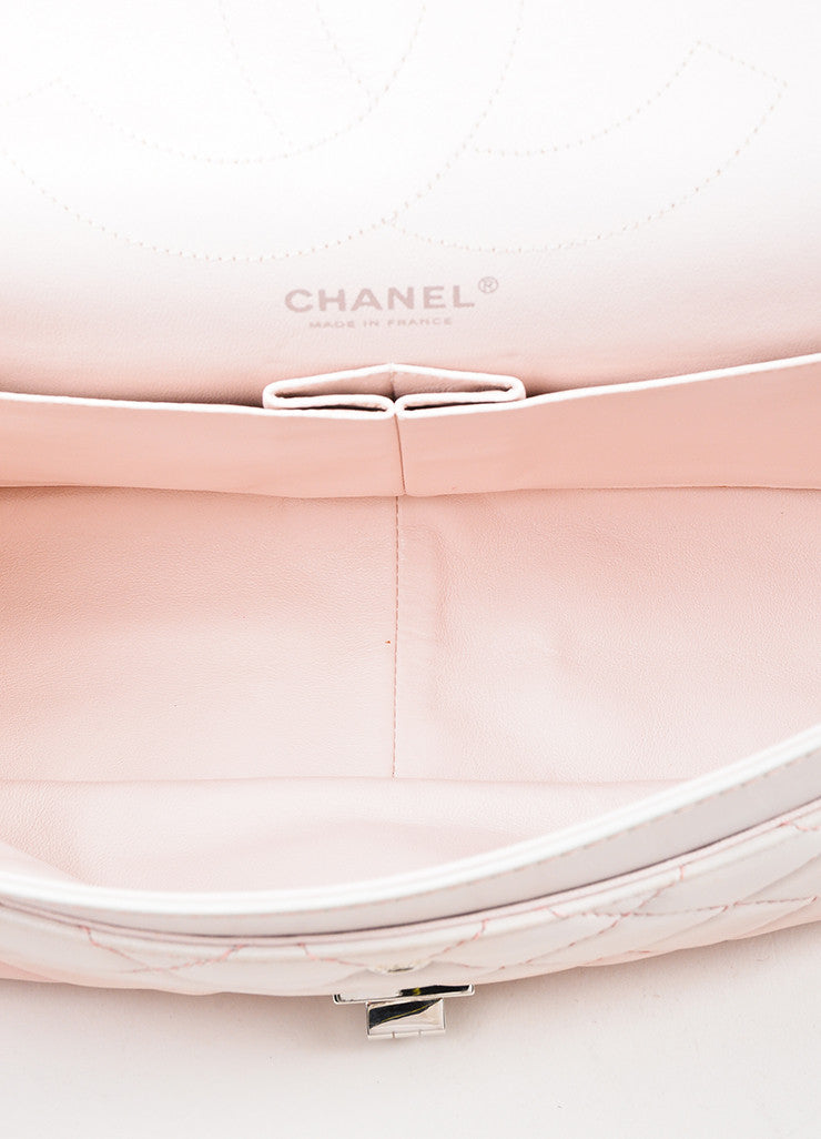"Chanel Pink and White Leather Ombre Degrad̩ ""2.55 Reissue 227"" Jumbo Double Flap Bag Interior"