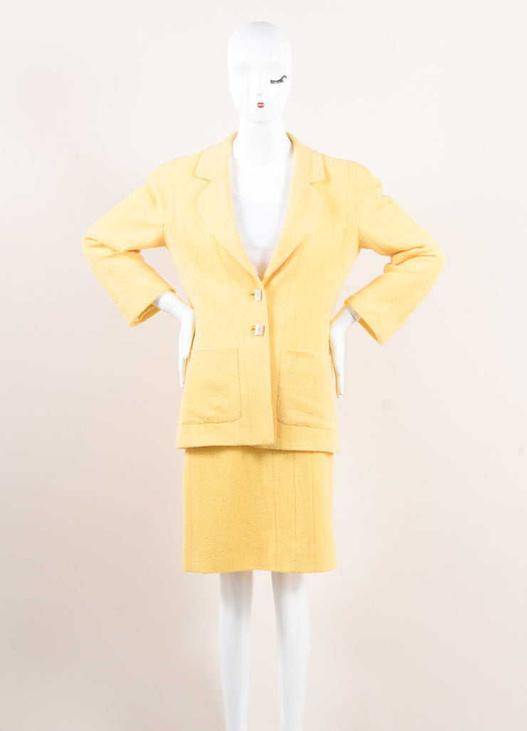 Chanel Yellow Wool Knit Jacket and Skirt Suit Frontview