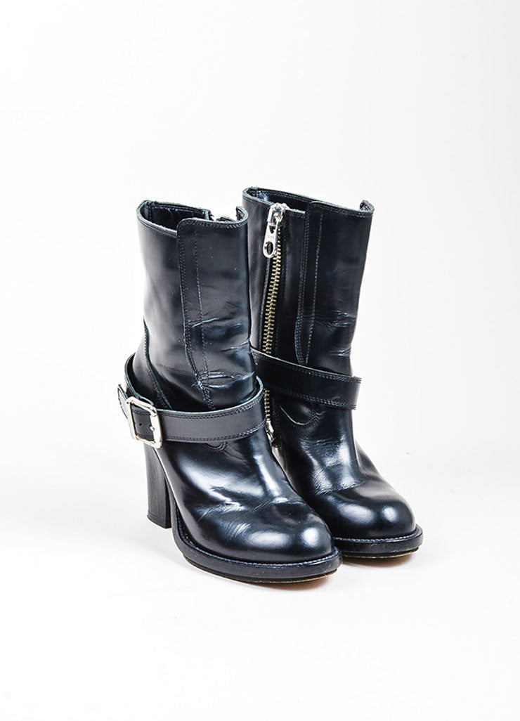 Black Chloe Zippered and Buckled Leather Heeled Moto Boots Frontview