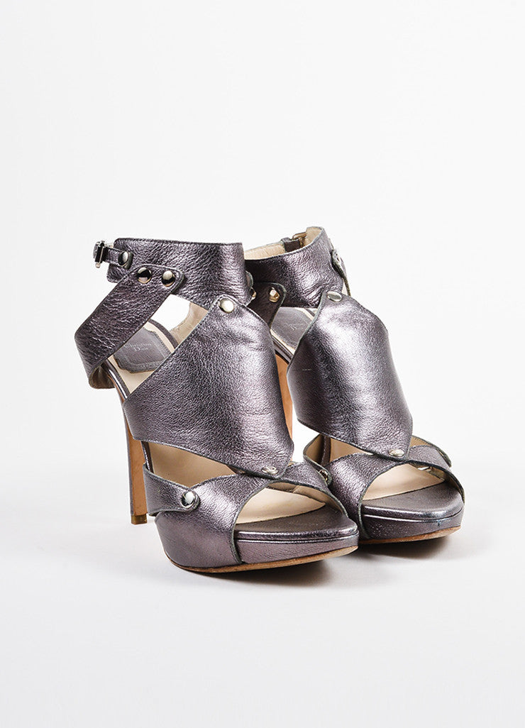 "Christian Dior Grey Leather Platform ""Extreme Dior"" Gladiator Sandals Frontview"