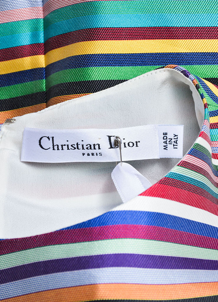 Multicolor Christian Dior Silk Stripe Pleated Sleeveless Dress Brand