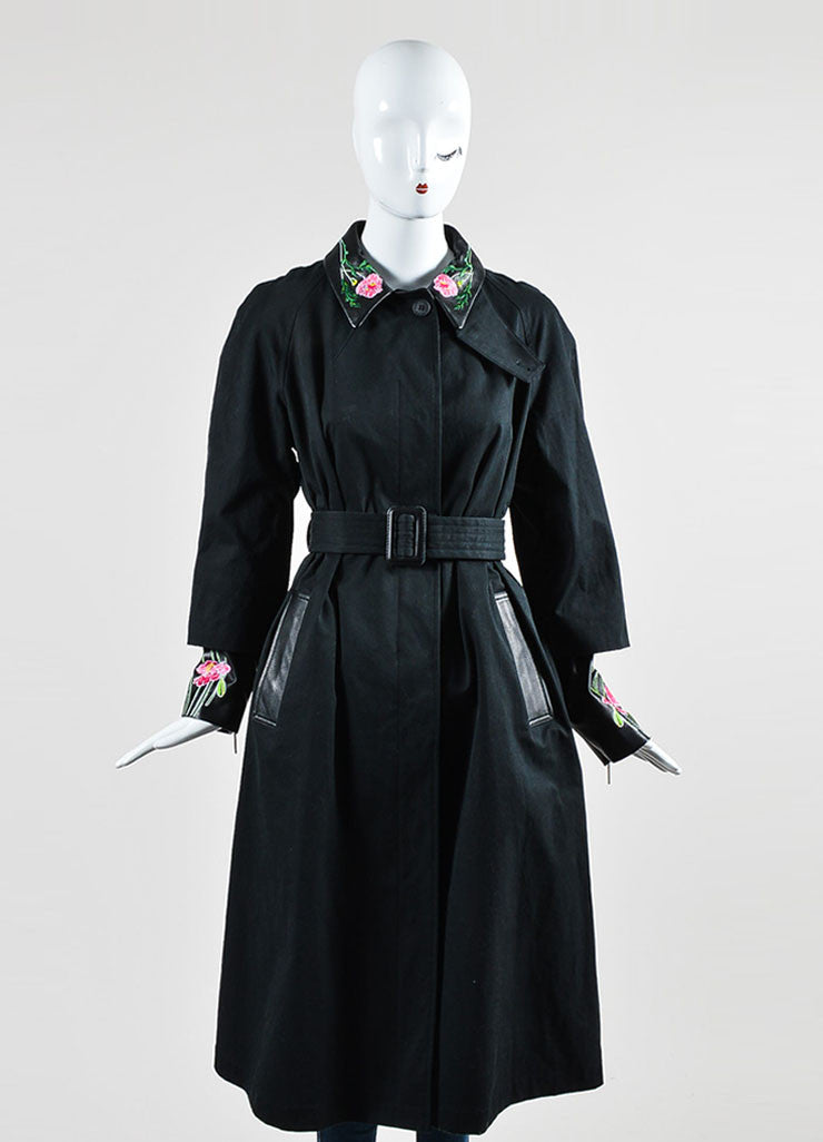 Christopher Kane Black Leather Trim Floral Embroider Trench Coat Frontview
