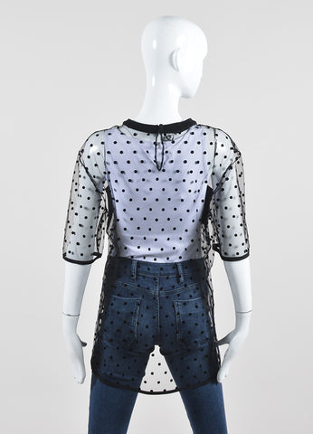Black Emanuel Ungaro Sheer Mesh Polka Dot Short Sleeve Top Backview