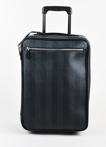 "Fendi Black & Grey Canvas Striped Rollaway ""Pequin Trolley"" Carryon Front"