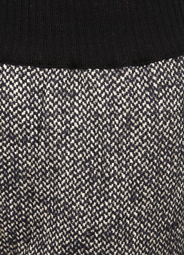 "Giada Forte New With Tags Black and White Knit Tweed ""Notte"" Jogging Pants Detail"