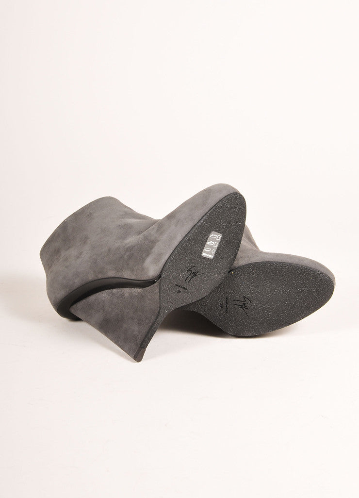 "Giuseppe Zanotti Grey Suede Leather Wedge Ankle ""Daisy"" Booties Outsoles"
