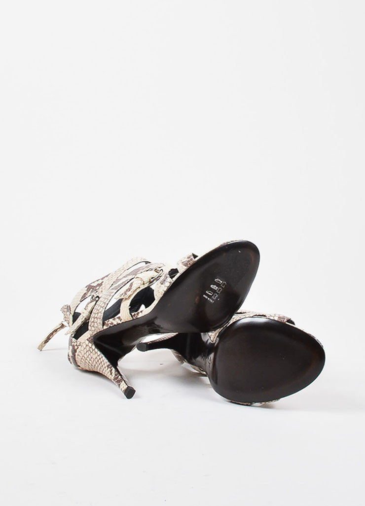 Giuseppe Zanotti Taupe and Brown Leather Embossed Snakeskin Cage Sandals Outsoles