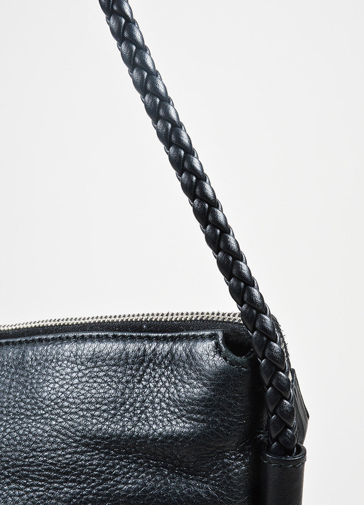 Black Gucci Leather Braided Strap Medium Zip Top Messenger Shoulder Bag Detail 2