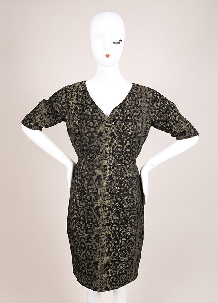 Gucci Green and Black Reptile Print Mid Sleeve V Neck Sheath Dress Frontview